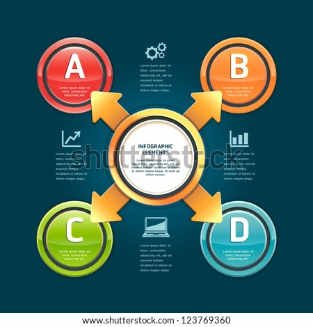 Colorful arrow circle options banner. Vector illustration. can be used for workflow layout, diagram, web design, infographics, number banner.