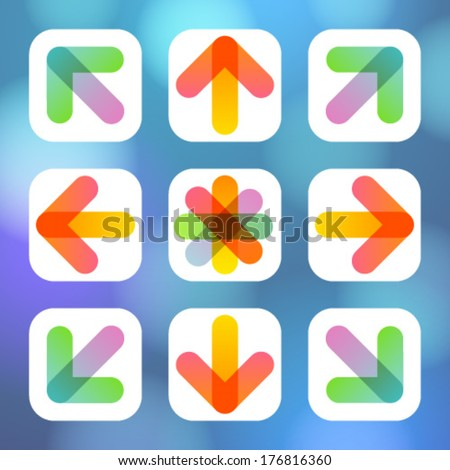 colorful arrow icon flat menu