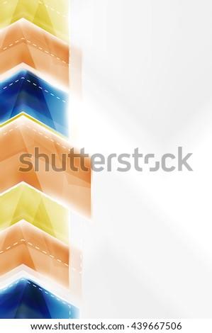 Colorful arrows composition. Vector web brochure, internet flyer, wallpaper or cover poster design. #439667506