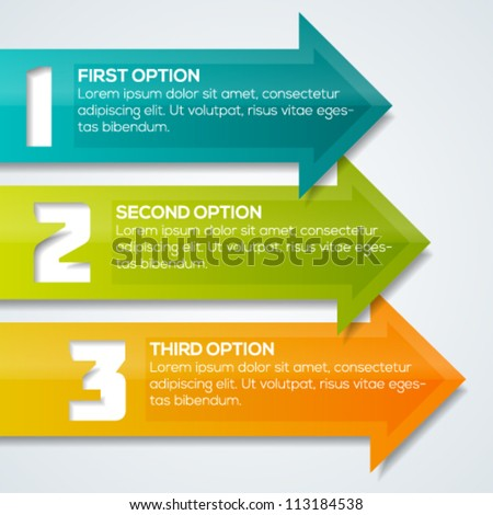 Colorful arrows progress banner template for your design.  Vector illustration.
