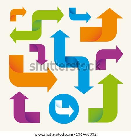 colorful arrows set vector design elements