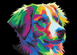 colorful art dog head with pop art style isolated backround. wpap style