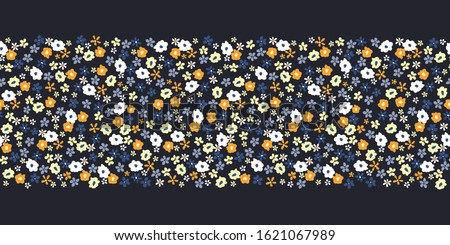 Colorful Artistic Ditsy Allover Graphic Floral Vector Seamless Pattern Border. Simplistic Small Hand Drawn Daisies, Scattered Abstract Blooms on Black Background. Minimal Stylized Flowers Print Photo stock ©