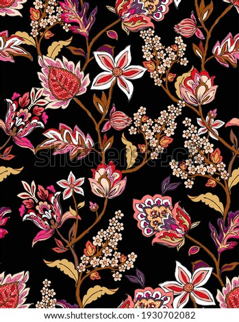 Colorful asian style floral pattern. Dark background floral tapestry.  paisley pattern with traditional indian style, design for decoration and textiles