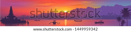 Colorful Asian sunset Balinese landmarks panoramic view, vector illustration of Bali water temple, palm trees and fishing boats in ocean