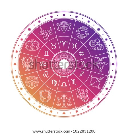 Colorful astrology circle design with horoscope signs isolated on white background. Vector zodiac horoscope astrological illustration