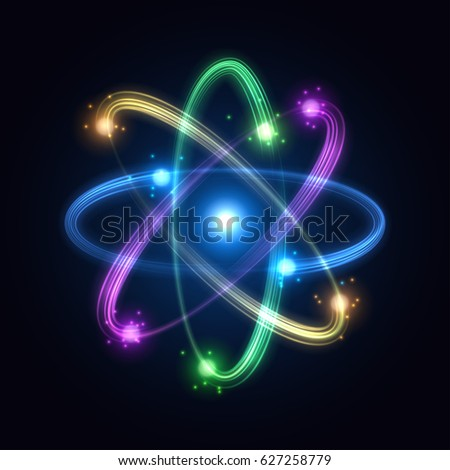 Colorful atom from particles. Vector illustration