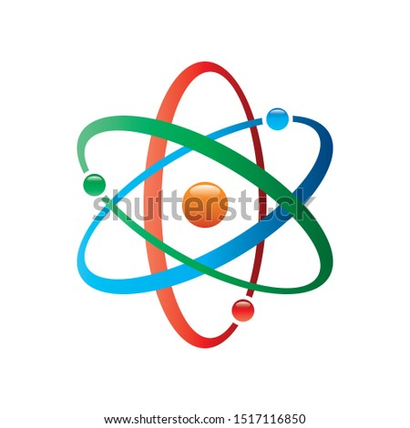 Colorful Atom vector icon. Symbol of science, education, nuclear physics, scientific research. Three electrons rotate in orbits around atomic nucleus. Concept of elementary particles design.