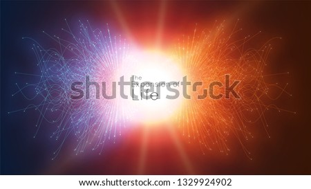 Colorful attraction of life. Vector connecting particle tails. Small particles strive to each other. Blurred debrises into rays or lines under high speed of motion. Burst, explosion backdrop Foto d'archivio ©
