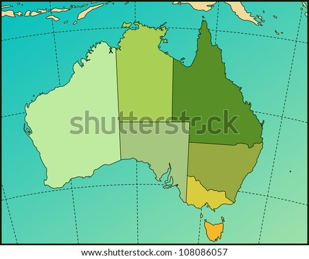 Colorful AUSTRALIA Map. Cartography collection. Vector illustration.