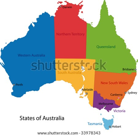 Free vector map of australia free vector art at vecteezy colorful australia map with regions and main cities gumiabroncs Image collections