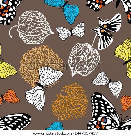 colorful autumn butterflies