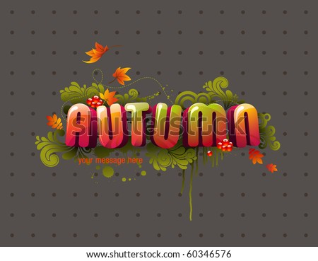 colorful autumn 3D headline with flying leaves, swirls and berries