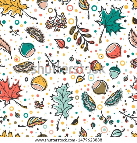 colorful autumn harvest symbols