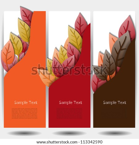 Colorful autumn leafs with banner set