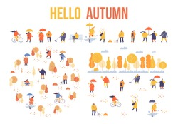 Colorful Autumn park flat vector set. Autumn park landscape. Different People in warm clothes having fun outdoors in urban park.  Autumn park with people illustration.