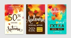 Colorful autumn poster set. Fall sale background with bright maple leaves, light effect, season type lettering discount text sign 50 percent, 20 Off everything. Vector illustration