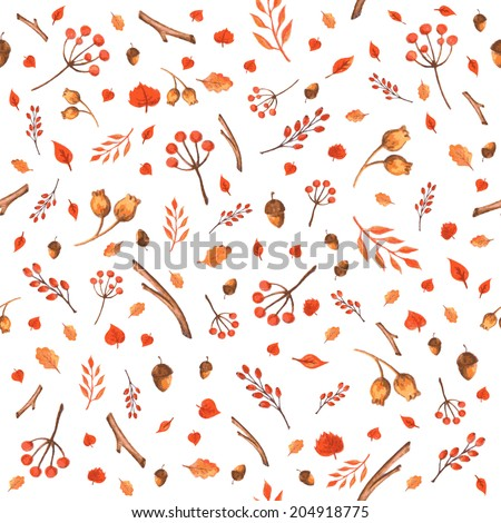 Colorful autumn seamless pattern made of hand drawn leaves, acorns and berries. Watercolor background. Vector illustration. Texture can be used for printing onto fabric and paper or scrap booking. - stock vector