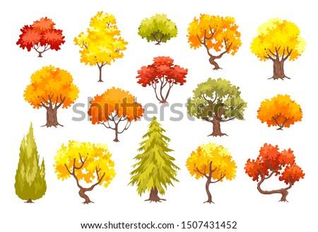 colorful autumn trees cartoon