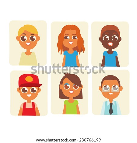 Colorful avatars icons set, cartoon flat style vector illustration.