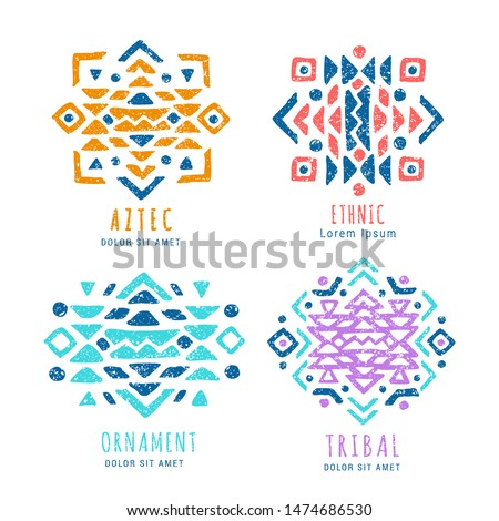 Colorful Aztec style ornamental geometric logo set. Indian ornate design. Tribal decorative templates. Ethnic ornamentation symbols. Grungy shabby chic texture. EPS 10 vector illustration