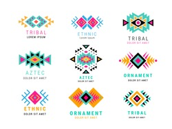 Colorful  Aztec style ornamental simple geometric logo set. American indian ornate pattern design collection. Tribal decorative templates. Ethnic ornamentation. EPS 10 vector illustration isolated.