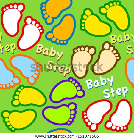 colorful baby footsteps green seamless pattern