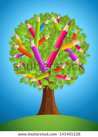Colorful back to school conceptual tree. Vector file layered for easy manipulation and custom coloring.