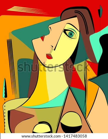 Colorful background, cubism art style,abstract portrait