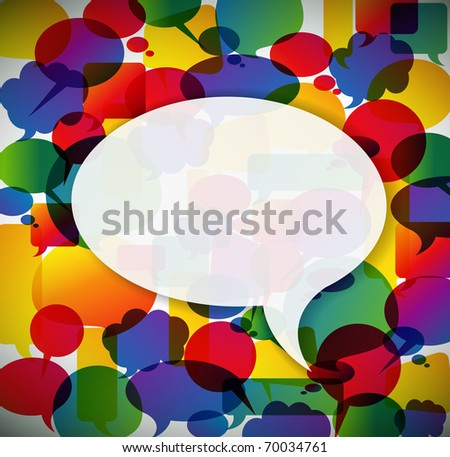 Colorful background made from speech bubbles with one big in the front