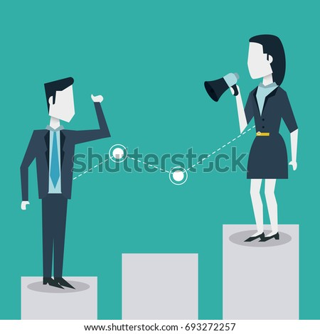 colorful background of business man and woman on the economic status bar and her with megaphone
