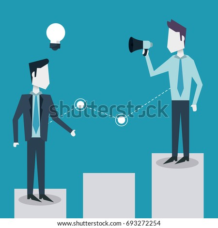 colorful background of business men on the economic status bar with megaphone