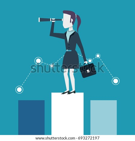 colorful background of business woman on the economic status bar with executive briefcase and monocular