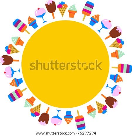 colorful background of different ice-creams, vector illustration