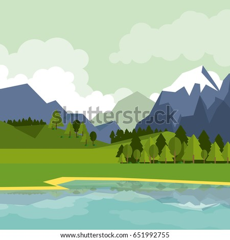 colorful background of natural landscape with mountains and lake