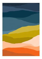 Colorful background or card template with abstract mountains of motley colors. Modern vertical bright colored backdrop with curves or stripes. Decorative vector illustration in contemporary art style