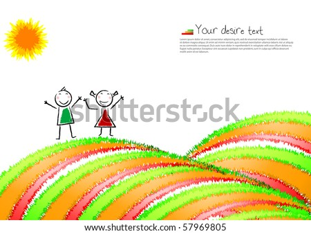 Colorful background,post-card with a happy child. Vector illustration.