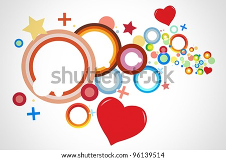 Colorful background vector with predominant shapes like hearts, circles, crosses and rings.
