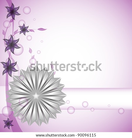 Colorful background with abstract silver star and purple flowers
