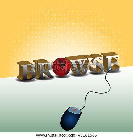 Colorful background with blue mouse shape and the word browse written with capital letters. Browsing the internet concept