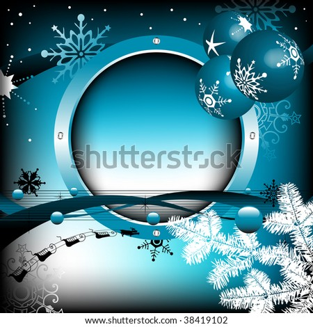 Colorful background with blue rounded winter frame, various stylized snowflakes, fir branch, blue bubbles and beautiful Christmas balls