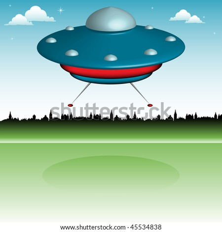 Colorful background with blue ufo landing on the earth near a town