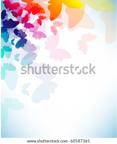 Colorful background with butterfly - stock vector