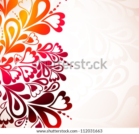 Colorful background with hearts and swirls. Vector illustration