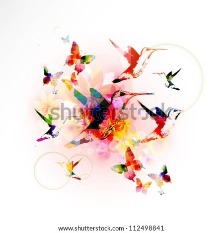 Colorful background with hummingbirds.Vector