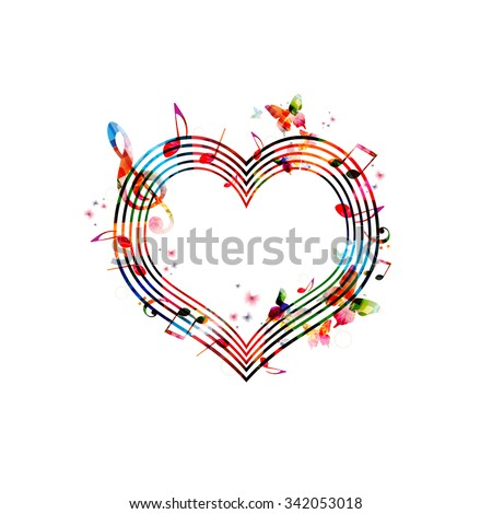 Stock Photo Colorful background with music notes