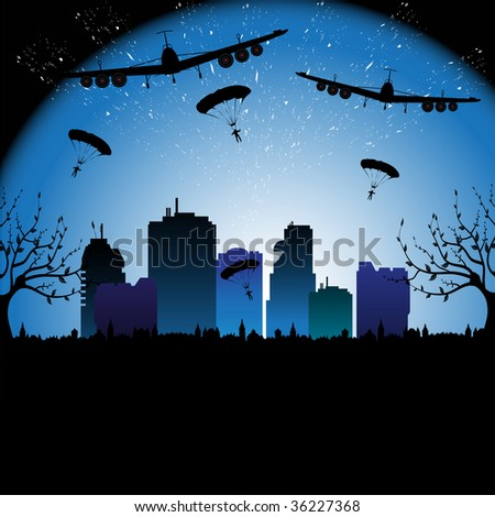Colorful background with parachutists jumping from two planes in a city with tall buildings and skyscrapers