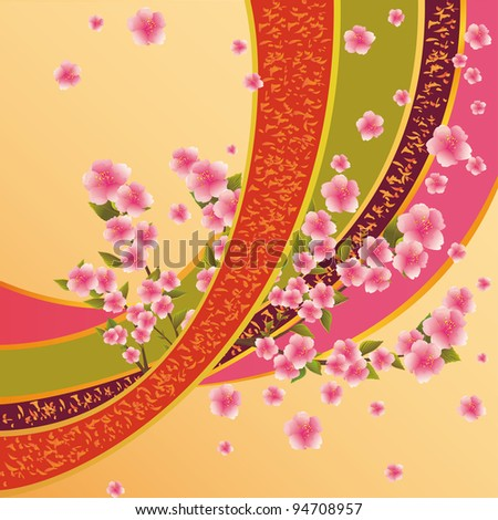 Colorful background with sakura blossom - Japanese cherry tree and ribbon with pattern