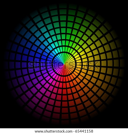 Colorful background with spectrum cell. Vector illustration on black
