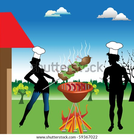 Colorful background with two young people having a barbecue in the backyard of their house